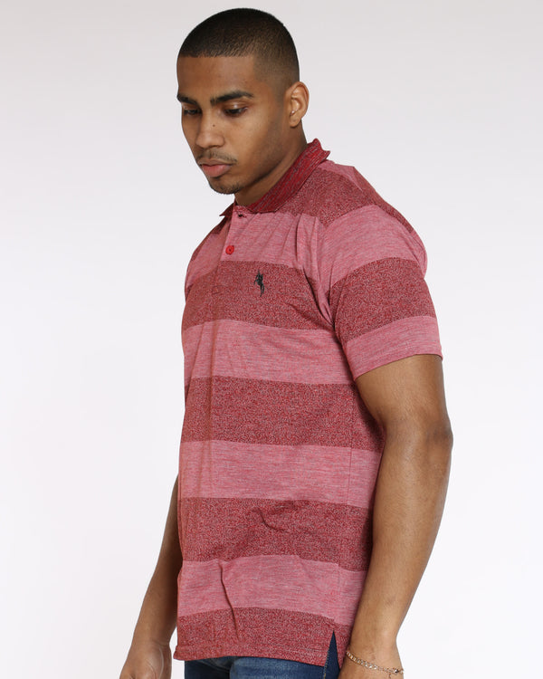 Men's Marled Stripe Polo Shirt - Red