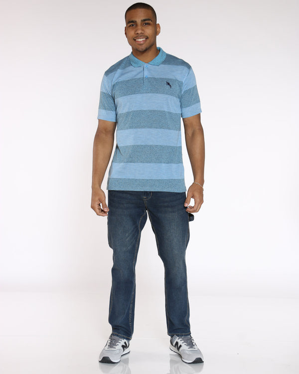 Men's Marled Stripe Polo Shirt - Light Blue