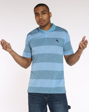 Men's Marled Stripe Polo Shirt - Light Blue-VIM.COM