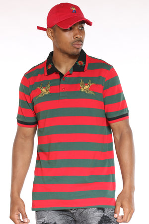 Men's Striped Bird Patches Shirt - Green Red-VIM.COM