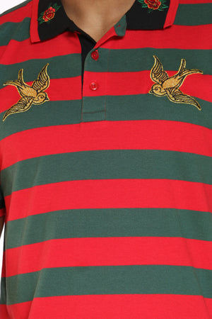 Men's Striped Bird Patches Shirt - Green Red