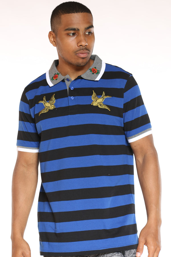 Men's Striped Bird Patches Shirt - Royal-VIM.COM