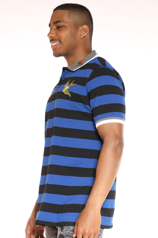 Men's Striped Bird Patches Shirt - Royal