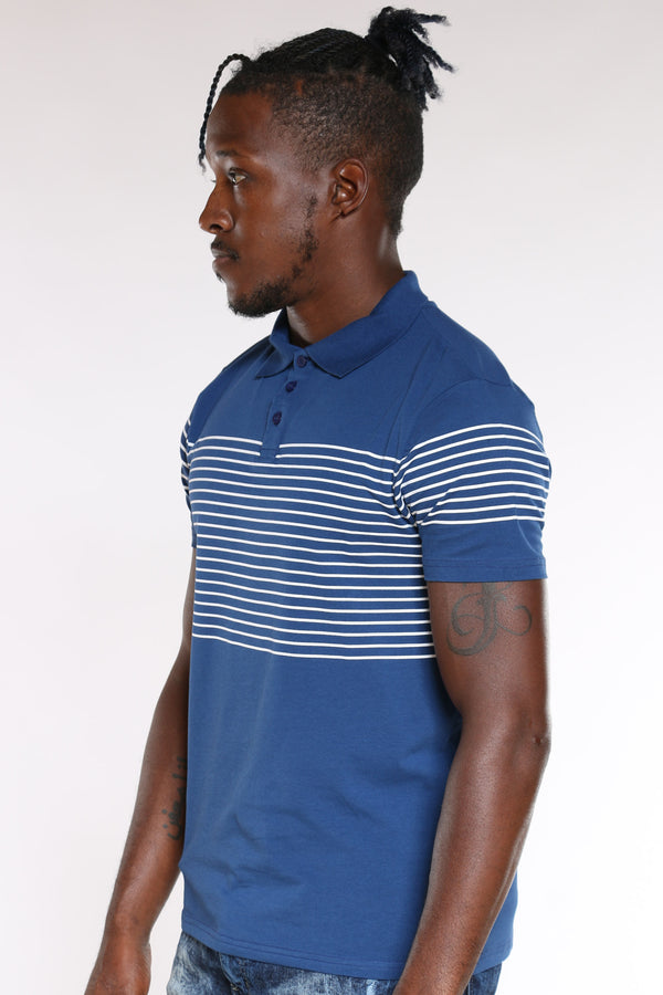 Men's Striped Polo Shirt - Navy