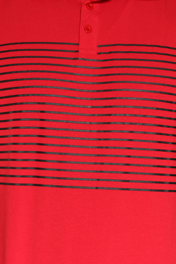 Men's Striped Polo Shirt - Red