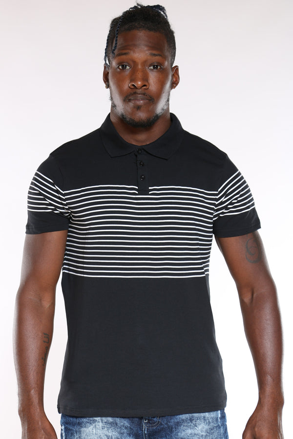 Men's Striped Polo Shirt - Black