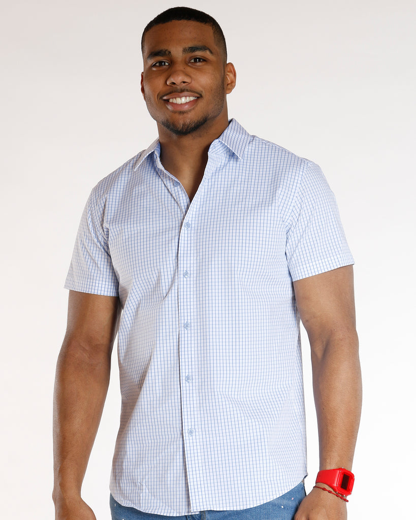 VIM White Stretch Plaid Shirt - Blue - Vim.com