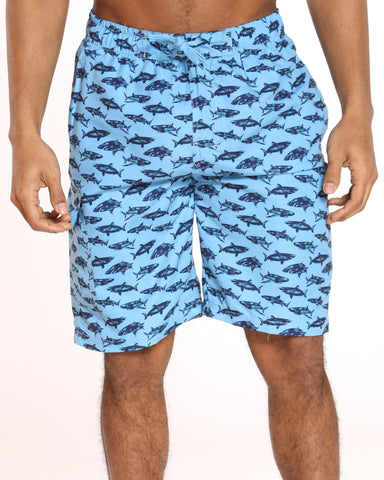 Men's Pool Vibes Printed Swim Short - Blue Sharks