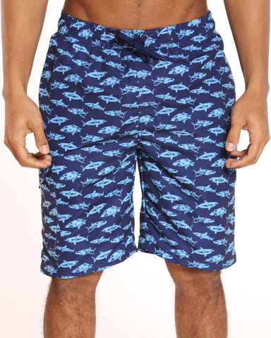 Men's Pool Vibes Printed Swim Short - Navy Sharks