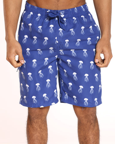 Men's Pool Vibes Printed Swim Short - Blue Jellyfish