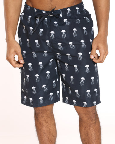 Men's Pool Vibes Printed Swim Short - Black Jellyfish