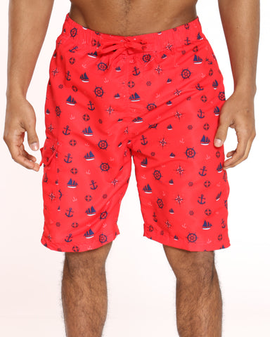 Men's Pool Vibes Printed Swim Short - Red Boat