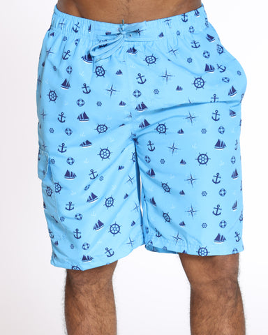 Men's Pool Vibes Printed Swim Short - Blue Anchor