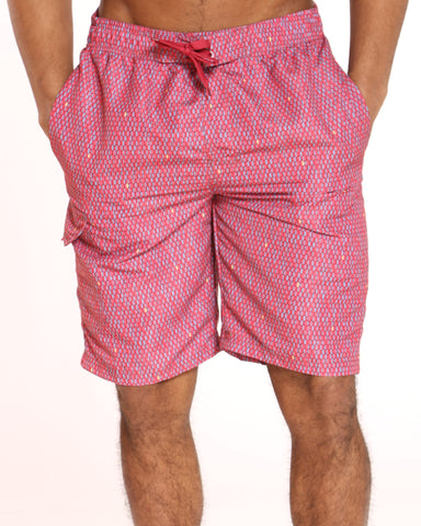 Men's Pool Vibes Printed Swim Short - Red Dots