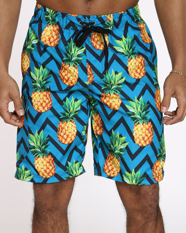 Men's Summer Vibes Swim Short - Blue Pineapple