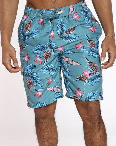 Men's Summer Vibes Swim Short - Blue Floral
