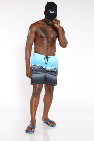 Men's Printed Swim Short - Green Palm