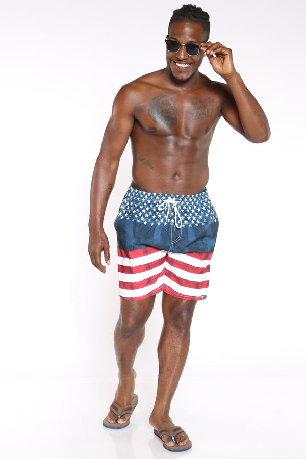 Men's Printed Swim Short - Flag