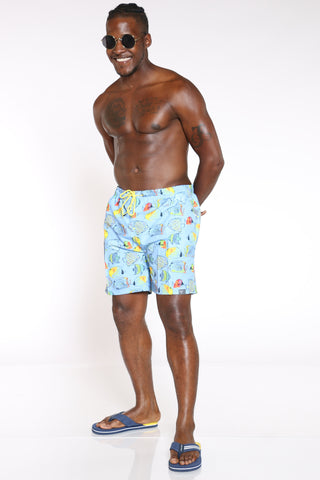Men's Printed Swim Short - Fishes