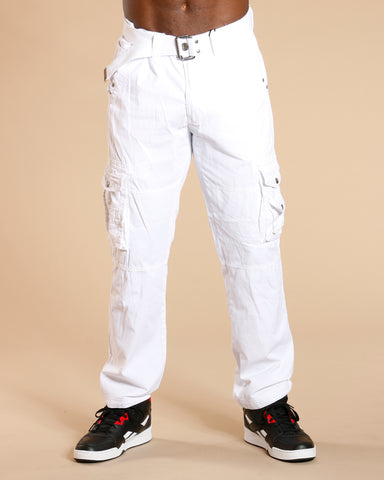 Men'S Belted Cargo Pants - White