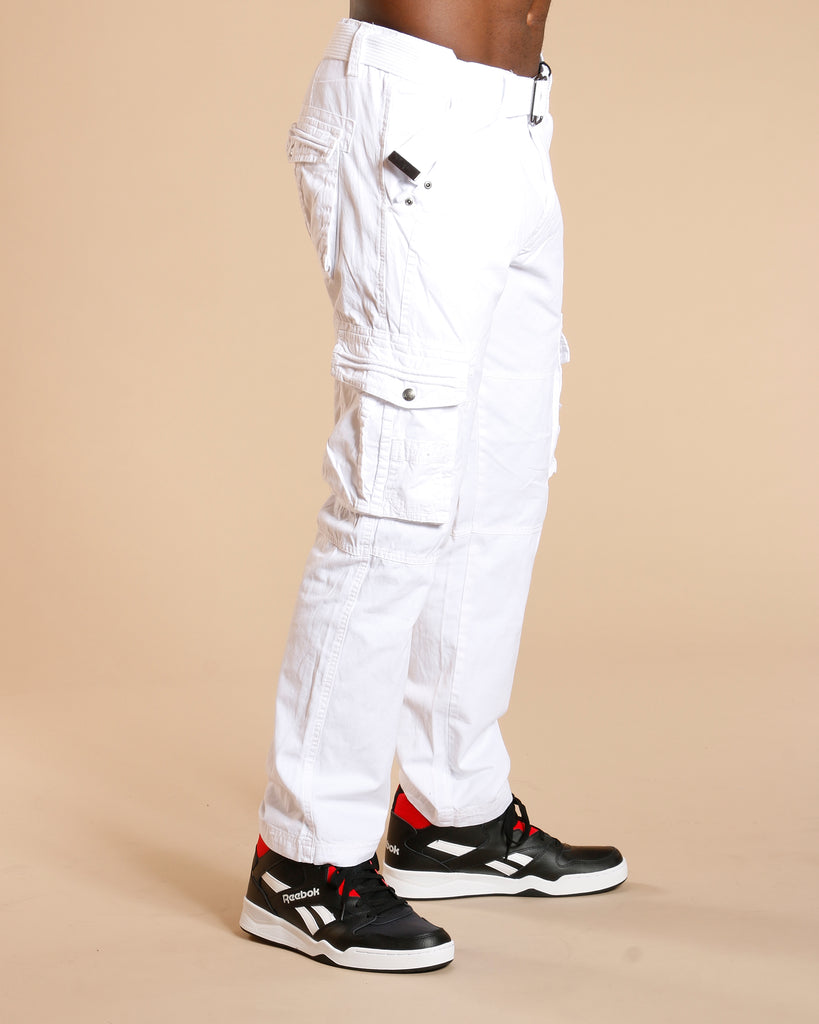 VIM Men'S Belted Cargo Pants - White - Vim.com
