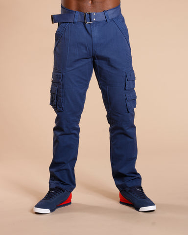 Men'S Belted Cargo Pants - Navy