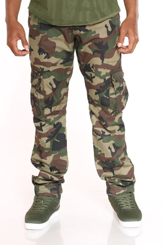 Men's Belted Cargo Pant - Green Camo