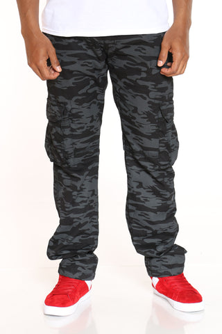 Men's Belted Cargo Pant - Black Camo