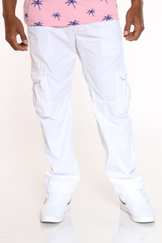 Men's Belted Cargo Pant - White