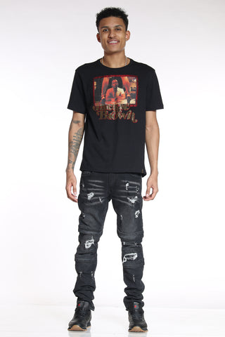 Men's Ripped & Repair Straps Skinny Jean - Black-VIM.COM