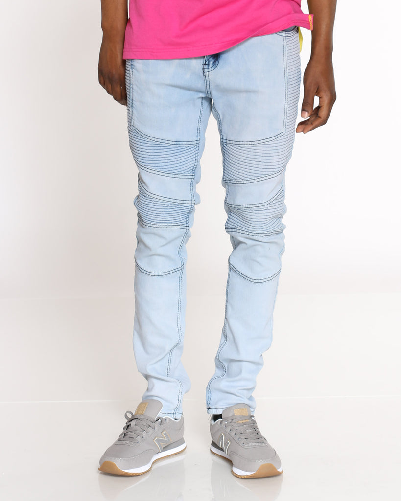 Taye Double Moto Cut & Sow Stretch Jean - Blue