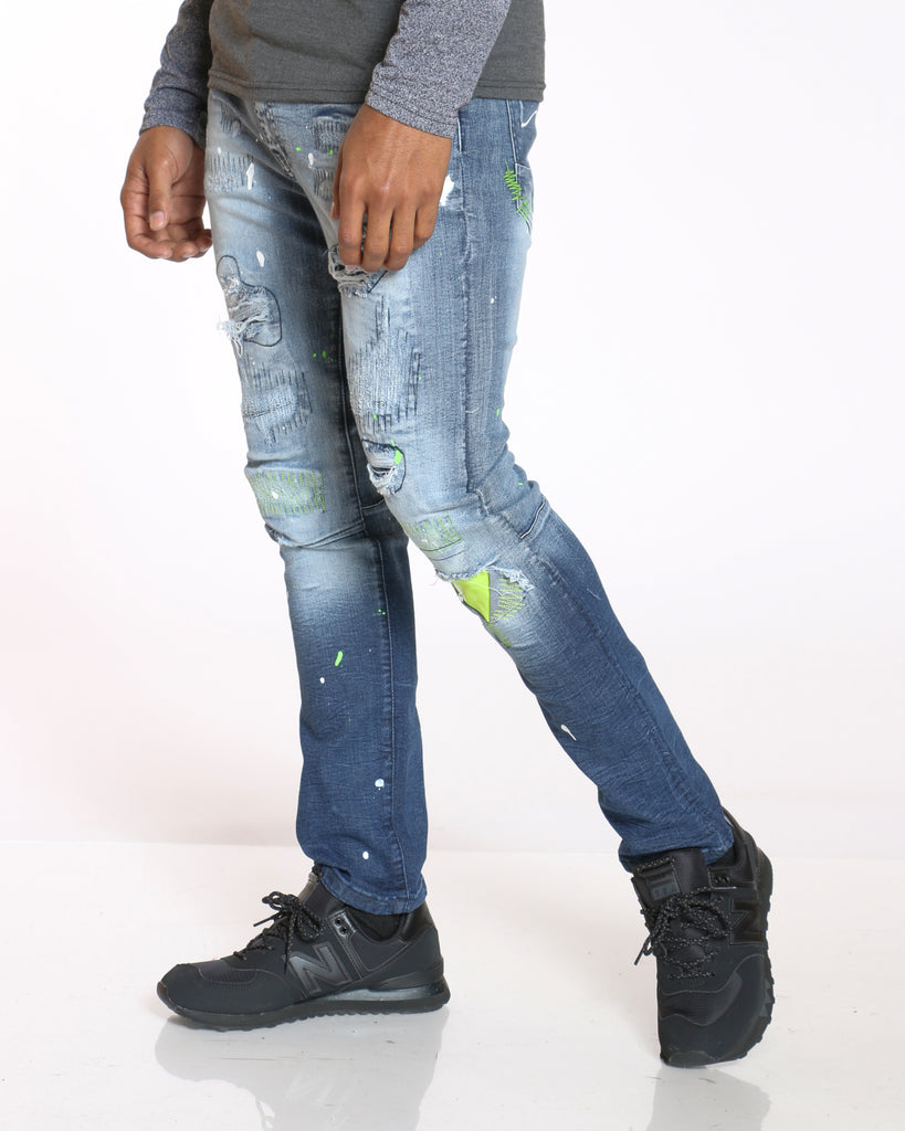 Robbie Ripped & Patches Paint Splatter Jean - Dark Blue