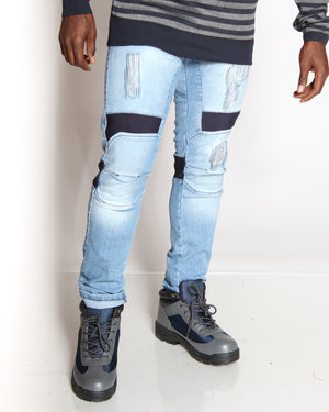VIM Curtis Stretch Ribbed Trim & Patches Blasting Jean - Light Blue - Vim.com