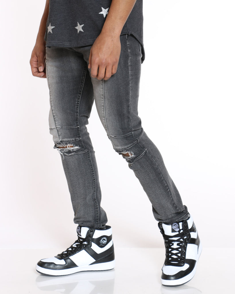 Ripped Knee Hole Jean - Grey