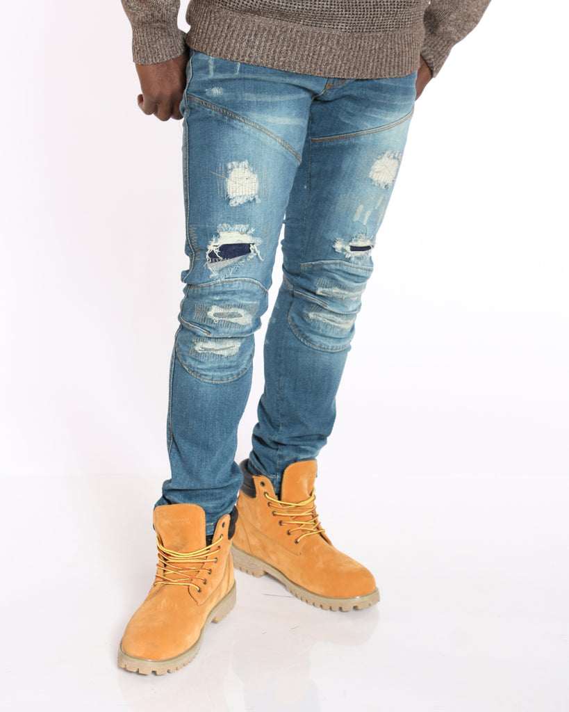 VIM Nasir Ripped & Patches Slim Fit Jean - Vintage - Vim.com