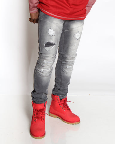 VIM Nasir Ripped & Patches Slim Fit Jean - Grey - Vim.com