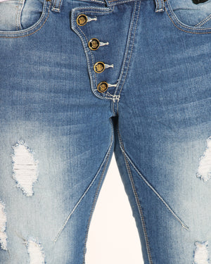VIM 5 Button Ripped Jean - Medium Blue - Vim.com
