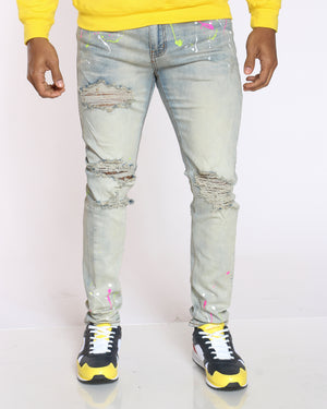Men's Keenan Neon Paint Splatter & Ripped Jean - Tinted Blue-VIM.COM