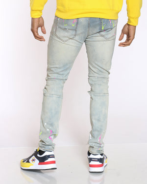 Men's Keenan Neon Paint Splatter & Ripped Jean - Tinted Blue