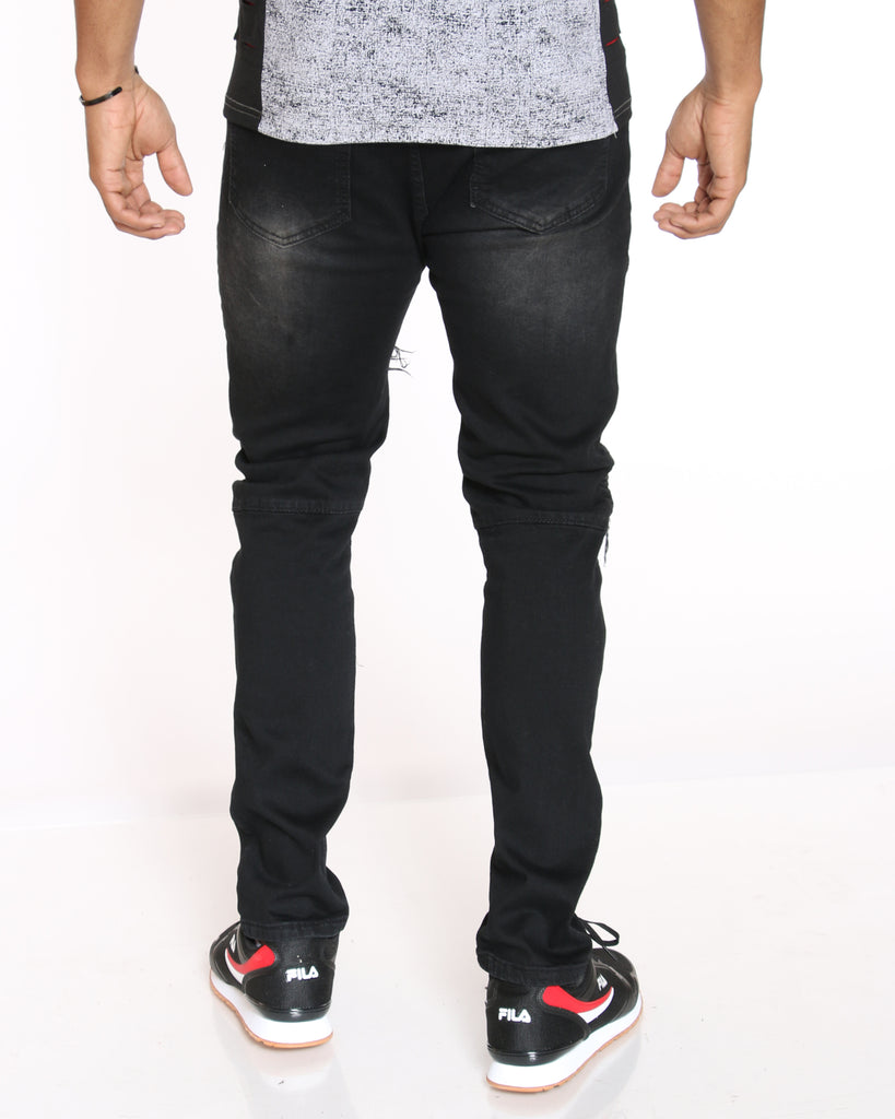 VIM Moto & Ripped Patch Jean - Black Wash - Vim.com