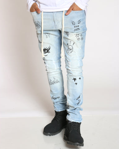 Men's Bolt Printed Design Light Ripped Jean - Light Blue-VIM.COM