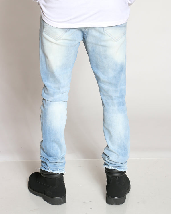 Men's Bolt Printed Design Light Ripped Jean - Light Blue