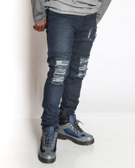 VIM Moto Patch & Knee Ripped Jean - Grey Wash - Vim.com