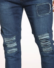 Mill Moto Patch & Knee Ripped Jean - Indigo Wash