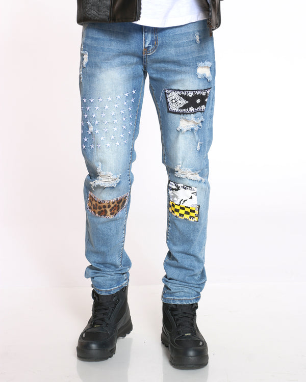 Men's Wild Cheetah Checker Patches Jean - Blue-VIM.COM