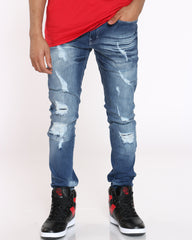 Scott Ripped Backing Jean - Medium Blue