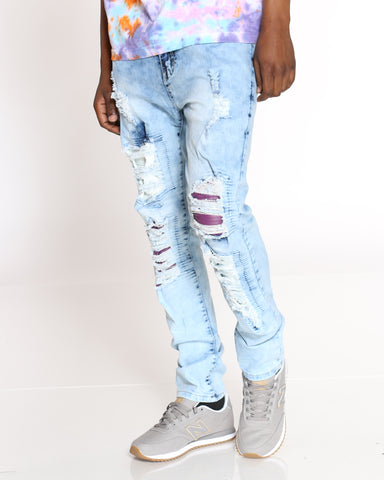 Men's Tate Heavy Ripped Jean - Light Blue-VIM.COM