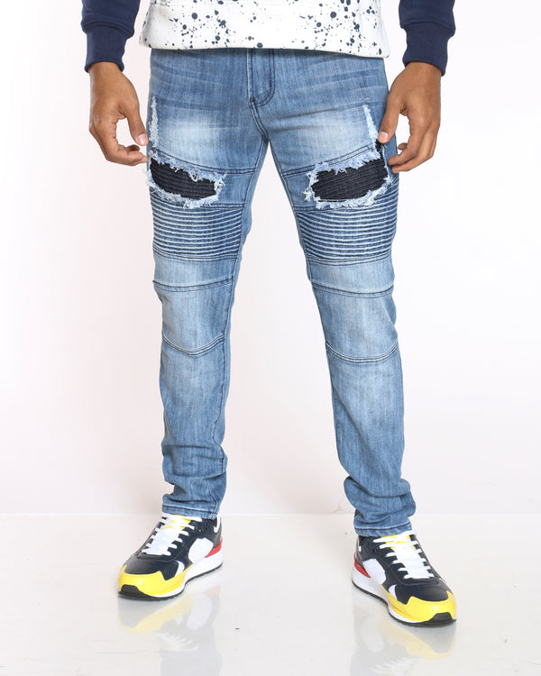 Men's Clyde Moto & Ripped Skinny Jean - Light Indigo-VIM.COM
