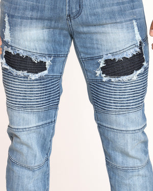 Men's Clyde Moto & Ripped Skinny Jean - Light Indigo
