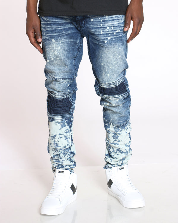 Men's Moto & Paint Splatter Jean - Ripping Dark-VIM.COM